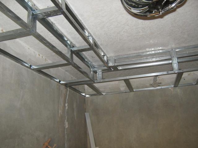 Потолок из гипсокартона каркас фото