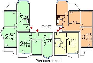 Планировка квартир п-44т.